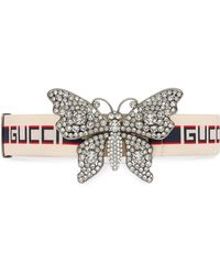 Gucci - Stripe Belt With Butterfly - Lyst