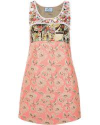 Prada - Printed And Embellished Dress - Lyst