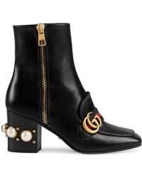 Gucci - Marmont Embellished Leather Ankle Boots - Lyst