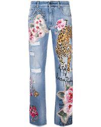 Dolce & Gabbana - Tiger Patch Denim Jeans - Lyst