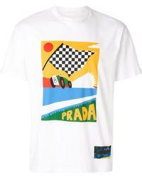 Prada - Racing Flag Printed T-shirt - Lyst