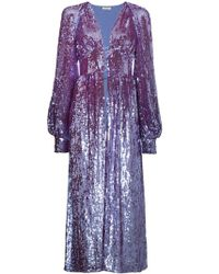 Attico - Long Sleeve Sequin Embellished Robe - Lyst
