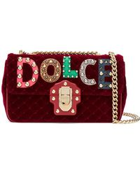 Dolce & Gabbana - Velvet Shoulder Bag With Chain And Patch - Lyst