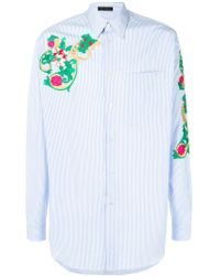 Versace - Striped Embroidered Shirt - Lyst