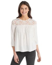 c7dfc507d4f0b Lyst - Pins And Needles Lace Cold Shoulder Top in White