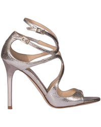 Jimmy Choo - Sandals Lang In Genuine Laminated Leather With Double Strap - Lyst