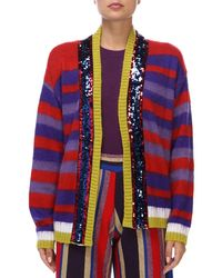 Pinko - Sequinned Striped Cardigan - Lyst