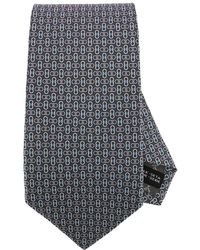 Ferragamo - 7 Cm Tie In Pure Silk With All-over Mediterranean Double Gancio Pattern - Lyst