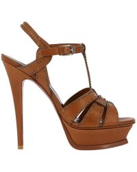 Saint Laurent - Ysl Tribute Sandal In Smooth Leather With Mini Metal Studs And Stiletto Heel - Lyst