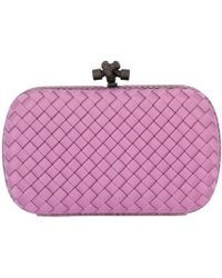Bottega Veneta - Clutch Bag Knot In Satin With Classic Woven Pattern And Shoulder Strap - Lyst