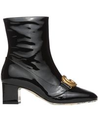 b9290f74f4c76 Gucci - Victoire Logo-embellished Patent-leather Ankle Boots - Lyst