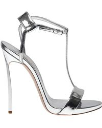 f6dfcdbae6 Casadei 100mm Blade Metallic & Leather Sandals in Natural - Lyst