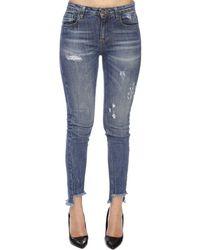 Frankie Morello - Jeans simonne a 5 tasche in denim stretch used skinny - Lyst