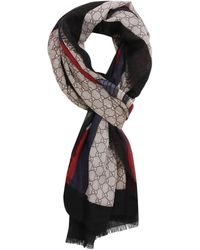 Gucci - 70 X 200 Cm Scarf In Pure Wool With Web And Snake Print - Lyst