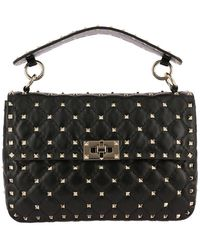 Valentino - Valentino Rockstud Spike Medium Bag In Genuine Leather With Micro Studs And Sliding Shoulder Strap - Lyst