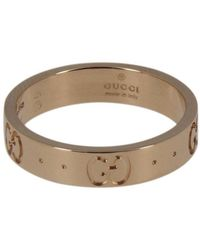 f8900d2c18ab56 Lyst - Gucci Icon Hammered 18ct Yellow Gold Ring in Yellow
