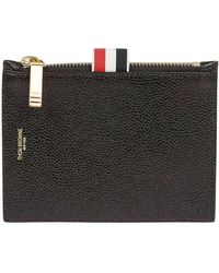 Thom Browne - Grained Leather Card Holder With Grosgrain Detail - Lyst