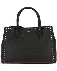 Twin Set Twin-set Tote Large Bag With Logo And Studs - Black