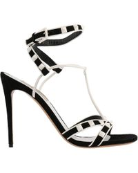 Valentino - Valentino Rockstud Sandals Free With Ankle Strap In Genuine Leather And Suede With Bicolor Pattern And Micro Studs - Lyst