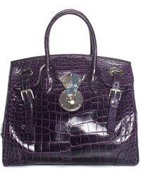 Ralph Lauren - Purple Crocodile Leather Ricky 33 Satchel - Lyst