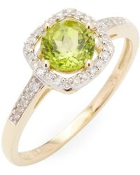 Rina Limor - 10k Yellow Gold Peridot And Diamond Halo Square Ring - Lyst