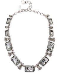 Oscar de la Renta - Gold Octagon Stone Necklace - Lyst