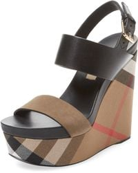 Burberry - House Check Leather Wedge - Lyst