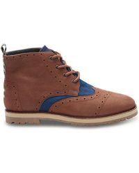 TOMS - Chestnut Brown Full Grain Leather/navy Herringbone Men's Brogue Boots - Lyst