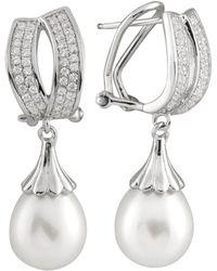 Splendid - Splendid Freshwater Pearls Silver 8.5-9mm Freshwater Pearl & Cz Drop Earrings - Lyst
