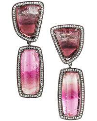 Dana Rebecca - Designs Courtney Lauren Rhodium 27.59 Ct. Tw. Diamond & Tourmaline Drop Earrings - Lyst