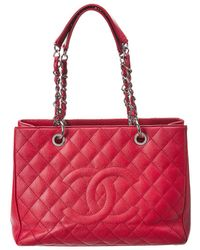 Chanel - Red Quilted Caviar Leather Grand Shopping Tote - Lyst