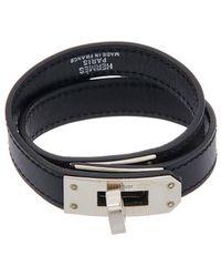 Hermès - Silver-tone & Black Leather Kelly Double Tour Bracelet - Lyst