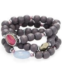 Alanna Bess Jewelry - Wood & Chalcedony Friendship Bracelets (set Of 3) - Lyst