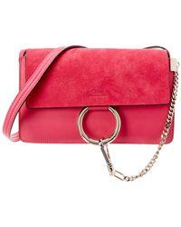 Chloé Faye Small Leather & Suede Shoulder Bag - Multicolour