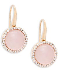 Roberto Coin - Diamond, Pink Quartz, Mother-of-pearl, Ruby And 18k Rose Gold Drop Earrings - Lyst