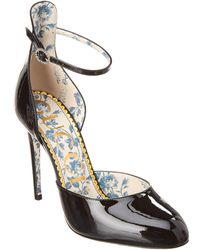Gucci Patent Ankle Strap Pump - Black