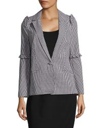 Saks Fifth Avenue   Gingham-check Ruffled Jacket   Lyst