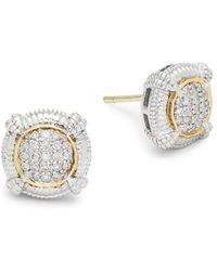 Judith Ripka - 18k Gold And Diamonds Round Stud Earrings - Lyst