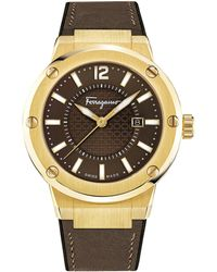 Ferragamo - F-80 Brown Guilloche Analog Dial Watch, 44mm - Lyst