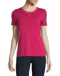 Elie Tahari - Embellished Short-sleeve Merino Top - Lyst