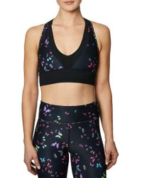 Betsey Johnson - Colorblocked Racerback Sports Bra - Lyst