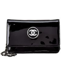 Chanel - Black Patent Leather Wallet On Chain - Lyst