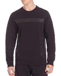 Les Benjamins - Long Sleeved Leather Paneled Pullover - Lyst