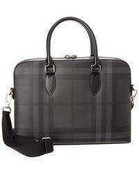 Burberry - Slim Barrow London Check Leather-trim Briefcase - Lyst