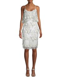Badgley Mischka - Lace And Floral Applique Sheath - Lyst