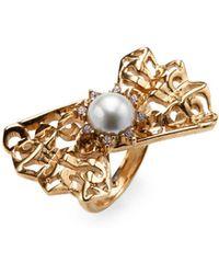 Oscar de la Renta - Imitation Pearl Filigree Ring - Lyst