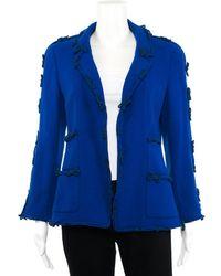 Chanel - Blue Wool-blend Bow Embellished Blazer, Size Fr 40 - Lyst