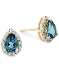 Saks Fifth Avenue - Diamond, London Blue Topaz And 14k Gold Pear Stud Earrings - Lyst