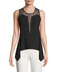 BCBGMAXAZRIA - Lace-trimmed Top - Lyst