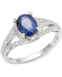 Effy - Pave Diamond, Faceted Sapphire & 14k White Gold Ring - Lyst